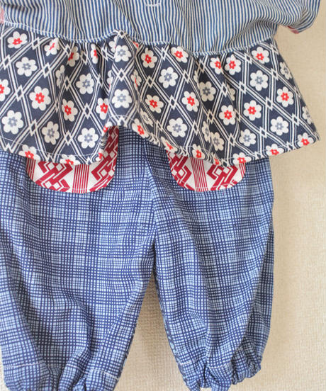 KIDS  blue yukata POP pockets easy pants (no.206)