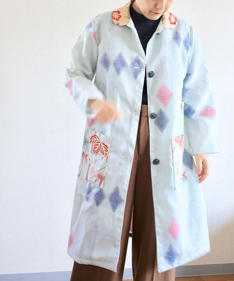 Gold x Light Blue Kimono Spring Coat (no.275)