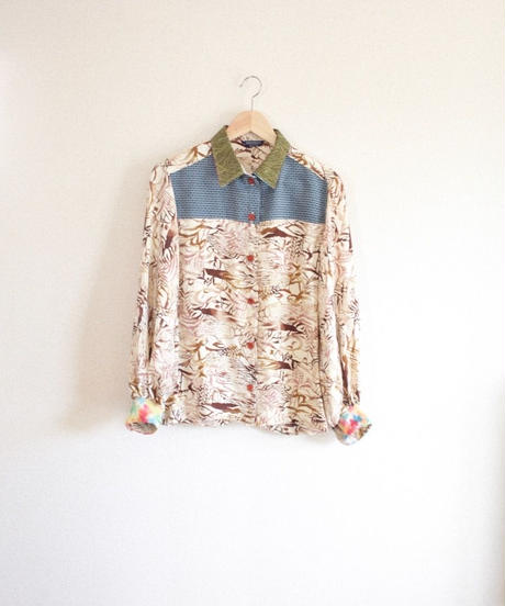 Silk Kimono brown&cream white casual Shirt (no.338)