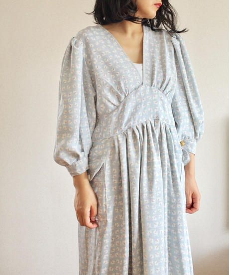 Sakura pastel light blue Kimono Long Dress (no.334)