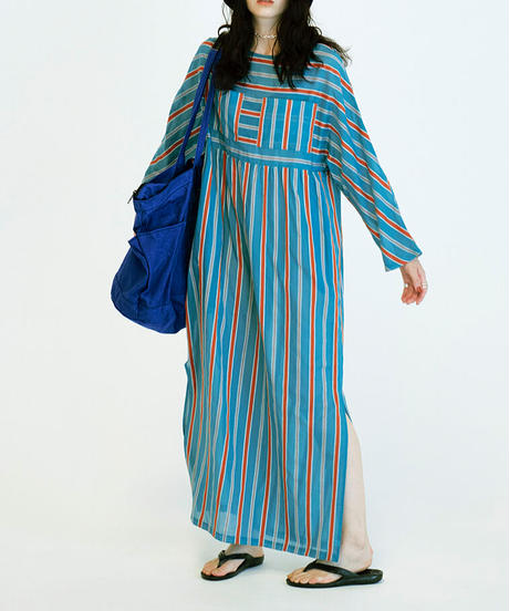 KAFTAN ONEPIECE 【WOMENS】BABY BLUE STRIPE