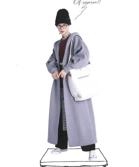DOUBLE WEAVE HOODIE LONG COAT 【WONENS】
