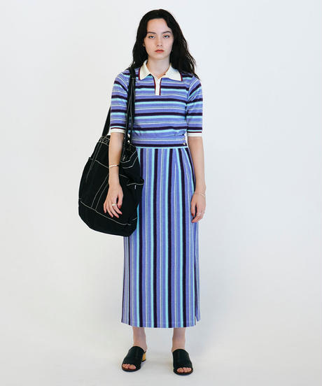 PILE BORDER  POLO SHIRT【WOMENS】