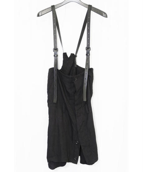 NU-1362  High Waist Wrap Skirt w/Leather Belt Suspenders