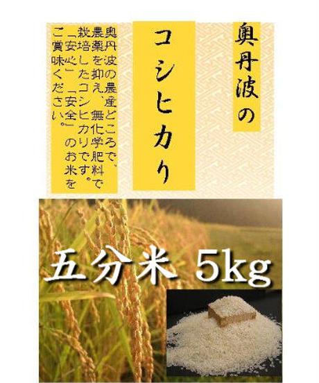 有機肥料・無農薬栽培米 令和2年(2020)産 コシヒカリ 五分米 5kg