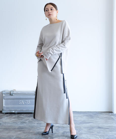 Uptown Sweat Slider Skirt(Oyster White/Mauve/Sumi Black)