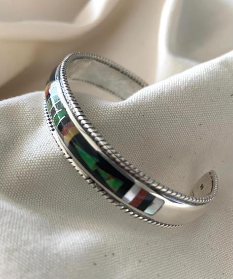 Silver925 Mosaic Bangle(green&yellow)