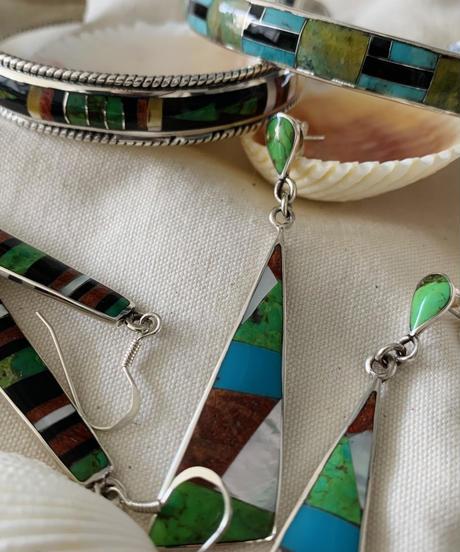 Silver 925 Mosaic Bangle(green&blue)