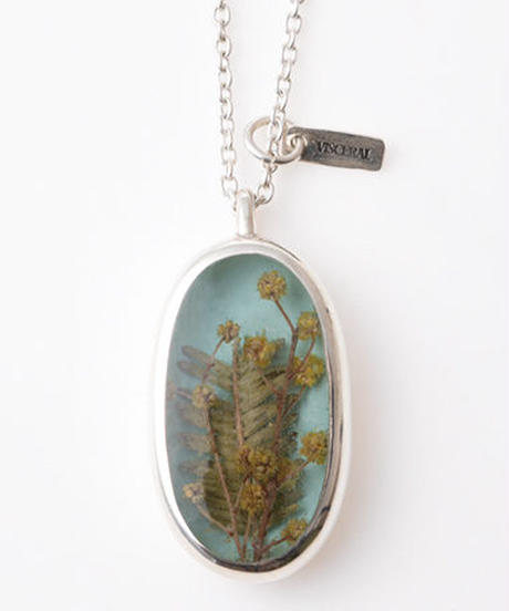 Herbarium Necklace  ・Mimosa・(Sky Blue)