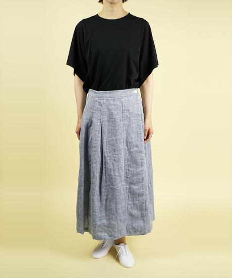 SARAHWEAR/サラウェア|リネンブルーパターンラップスカート|C-21587