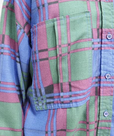 Front Big Pocket Check Shirts PUR