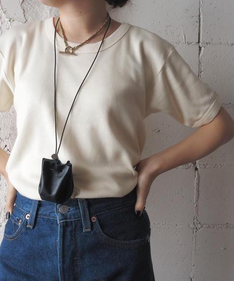 【Orfeo Original】Drawstring Leather Pouch BK