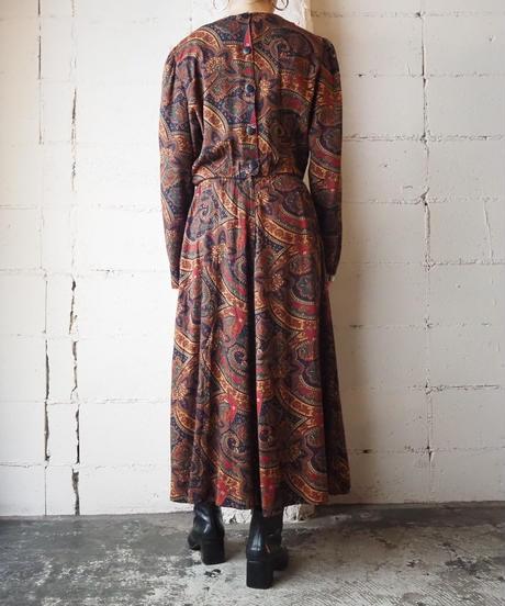 Paisley Pattern Collarless Dress NV