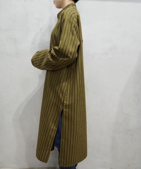 Beads Embroidery Stripe Kaftan Shirt KA