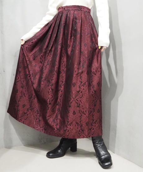 Pattern Shiny Flared Skirt RE