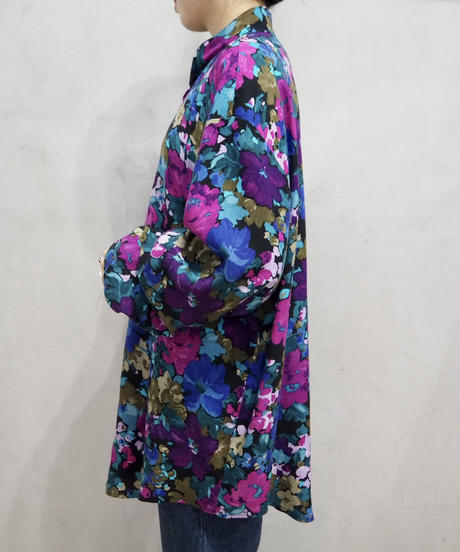 Flower Pattern Band Collar Blouse PUR