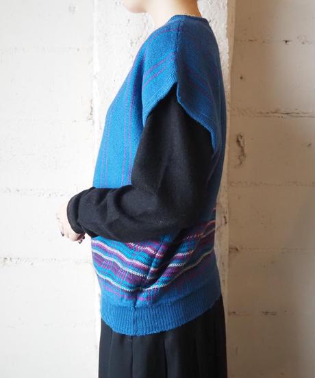 PENDLETON Check×Stripe Knit Vest BL