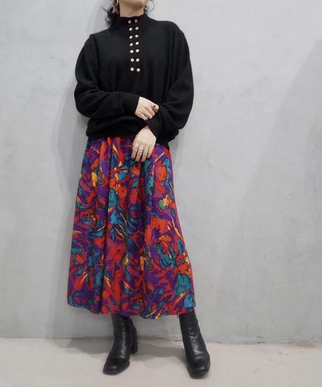 Flower Pattern Flared Skirt PIPUR