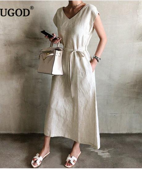 Rugod 2019新しい夏ガウン女性ストライプレースvネックロングドレスファッション女性の足首までの長さのポケットオフィス女性のドレス 4083