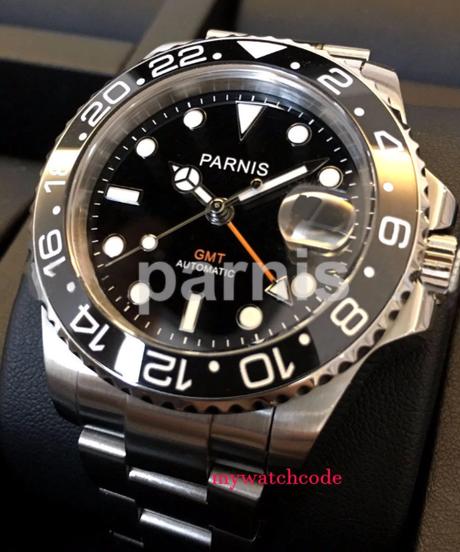 Parnis40mmブラックダイヤル発光サファイアガラロスセラミックベゼルGMT自動メンズ腕時計高級ブランドトップ機械式時計