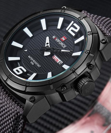 【全5色】 NAVIFORCEトップブランドミリタリー腕時計男性ファッションカジュアルキャンバスレザースポーツクォーツ腕時計男性時計