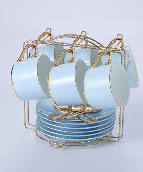 大理石の骨中国コーヒーセット霜降りの磁器のお茶セット高度なポットカップセラミックマグシュガーボウルクリーマーティーポット 6カップ&ソーサラー+6スプーンセット(通常カップホルダー)