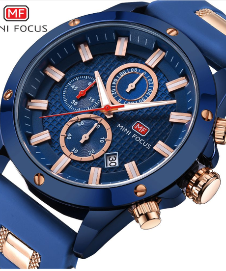 【全4色】 MINIFOCUS 2018メンズファッションスポーツウォッチメンズクォーツアナログ日付時計シリコンミリタリー腕時計
