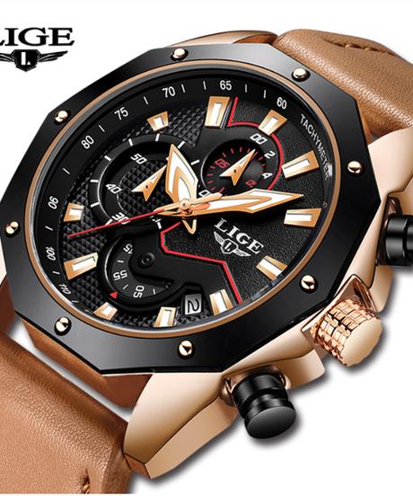 【全3色】 LIGEスポーツメンズ腕時計トップブランドの高級カジュアルレザー防水時計メンズクロノグラフドレスクォーツ時計