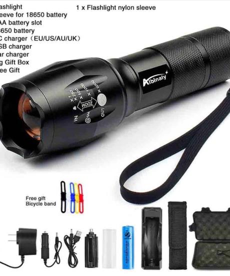 Albinaly CREE XM-L2 LED懐中電灯 光度8000ルーメン 18650バッテリー+充電器+ギフトボックス+無料ギフト付き