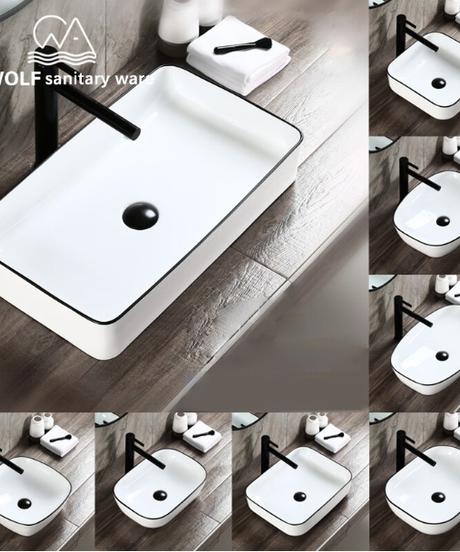バスルームシンクシンプルデザインホワイトカラーセラミックキャップスクエアシンク洗面台ポップアップドレインソフトホース