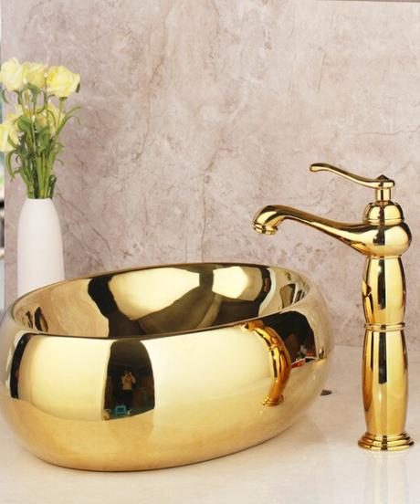 Kemaidi ソリッドブラス洗面台蛇口セットゴールド高級セラミック洗面台浴室の蛇口トイレシンク浴室コンバインミキサーフリードレイン