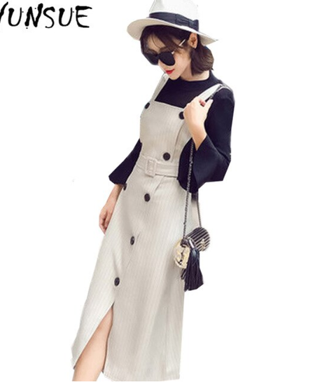AYUNSUE AYUNSUE新しい2019レディーススーツ2ピースオフィスセットレディースエレガントダブルブレストドレス女性ニットセーター 9722
