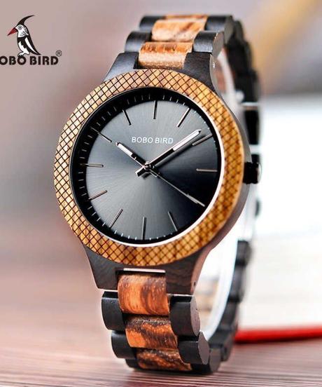 BOBO BIRD メンズ腕時計レトロゼブラウッドクォーツ腕時計ファッションウォッチ
