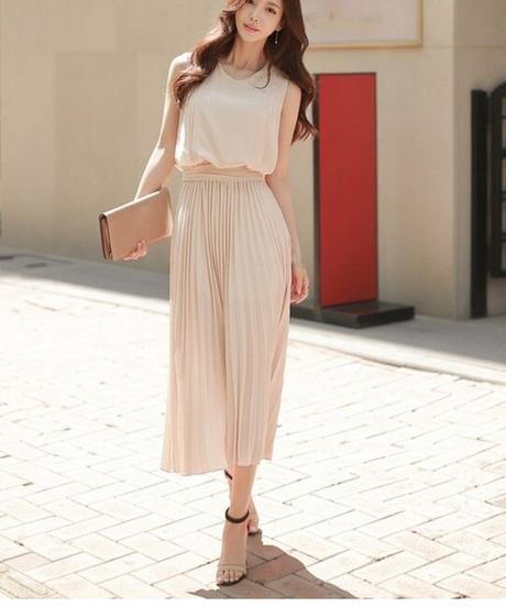 女性のエレガントな固体ノースリーブワンピース夏シフォンストレートドレスファッションロングマキシドレス 8133