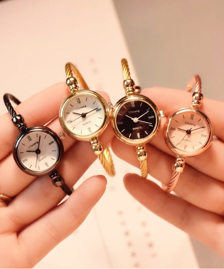 Ulzzangゴールドバングルブレスレット時計ステンレススチールレトロ女性クォーツ腕時計ファッションカジュアルドレスウォッチ腕時計