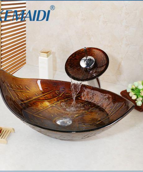 KEMAIDI 滝蛇口強化ガラス浴室のシンクセットレトロスタイルガラスボウル浴室のシンク葉アート洗面台排水