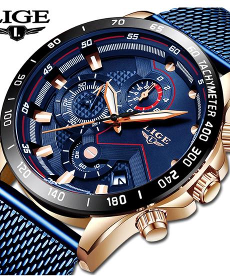 【全4色】 LIGE 2019メンズ腕時計トップブランドの高級防水ファッションウォッチクォーツ時計メンズスポーツクロノグラフ