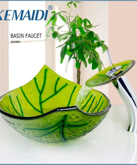 KEMAIDI ハンド塗装グリーンリーフシェイプバスルームシンクシンクミキサー付きポップアップ排水シンクセット