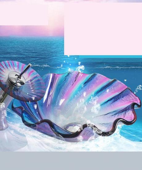 KEMAIDI 浴室強化ガラスシンク浴室シンククリエイティブドリーム旋風プラットフォーム洗面器強化ガラスシンク