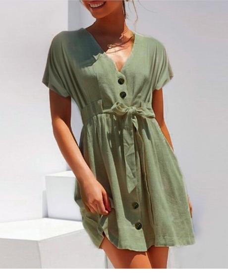 夏カジュアルソリッドシングルブレストミニビーチサンドレス半袖vネックシンプルルースショートドレスサッシオフィスレディドレス 1224