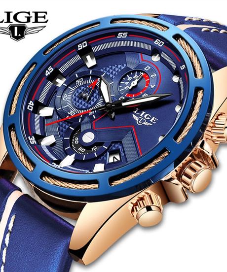 【全5色】 LIGE腕時計男性ファッションスポーツクォーツ時計革男性腕時計トップブランドの高級ビジネスウォッチ