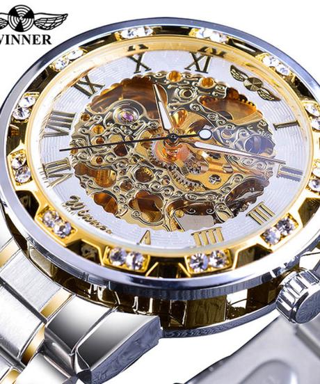 【全8色】 WINNER 透明ファッションダイヤモンドディスプレイ発光針ギアムーブメントレトロロイヤルデザイン男性メカニカルスケルトン腕時計