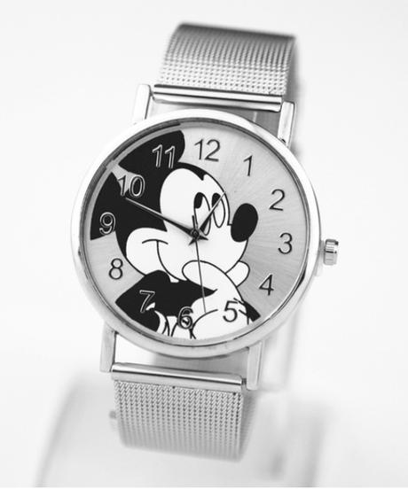 Zegarki meskie ファッションブランドミッキー時計女性クォーツ時計レディースステンレス鋼レディースドレス時計
