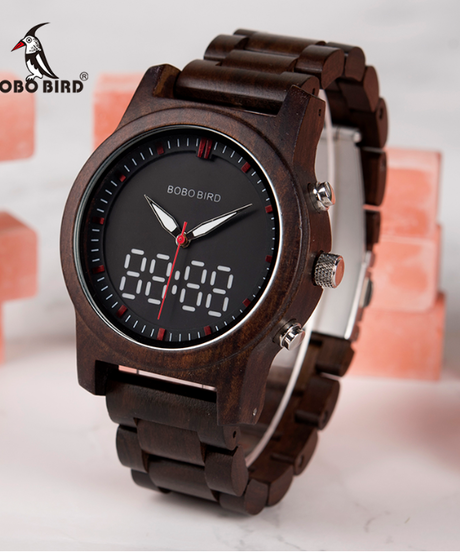 BOBO BIRD 2019新作メンズクロックデジタルウッドクォーツ腕時計デュアルディスプレイ木製時計