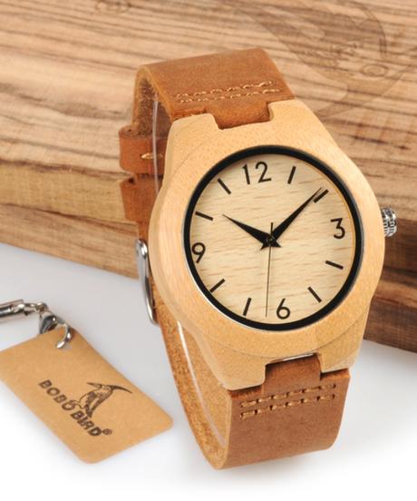 BOBO BIRD 女性腕時計ハンドメイドレディース木製時計本革