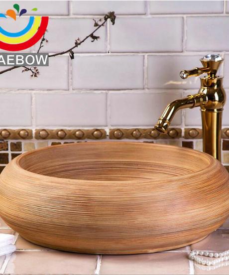 原始的なスタイル芸術的な手作りのブラッシュ仕上げラウンドカウンター洗面台セラミックバスルームのシンク シンクのみ