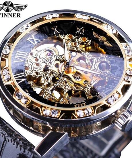 【全6色】 WINNER レトロ発光針ファッションダイヤモンドディスプレイメンズメカニカルスケルトン腕時計トップブランドの高級時計