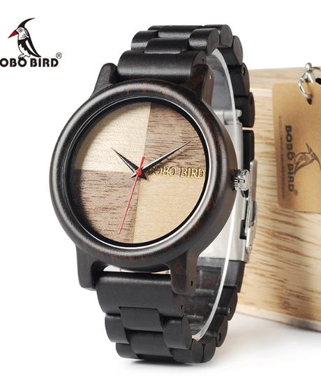 BOBO BIRD ウッド腕時計クォーツ腕時計四葉のユニークなアンティークデザイン木材クォーツ腕時計