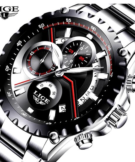 【全4色】 LIGEメンズ腕時計ファッションスポーツクォーツ時計メンズトップブランドの高級フルスチールビジネス防水カジュアルウォッチ