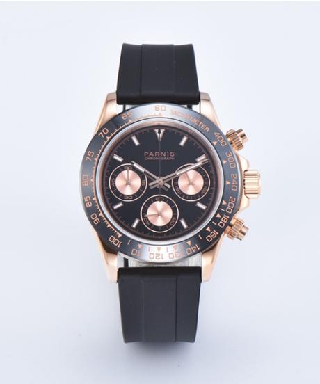 【全2色】 Parnisクォーツクロノグラフ時計男性トップブランドの高級パイロットビジネス防水サファイアクリスタル腕時計
